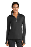Nike 779796 Womens Dri-Fit Moisture Wicking 1/4 Zip Sweatshirt Black/Dark Grey Front