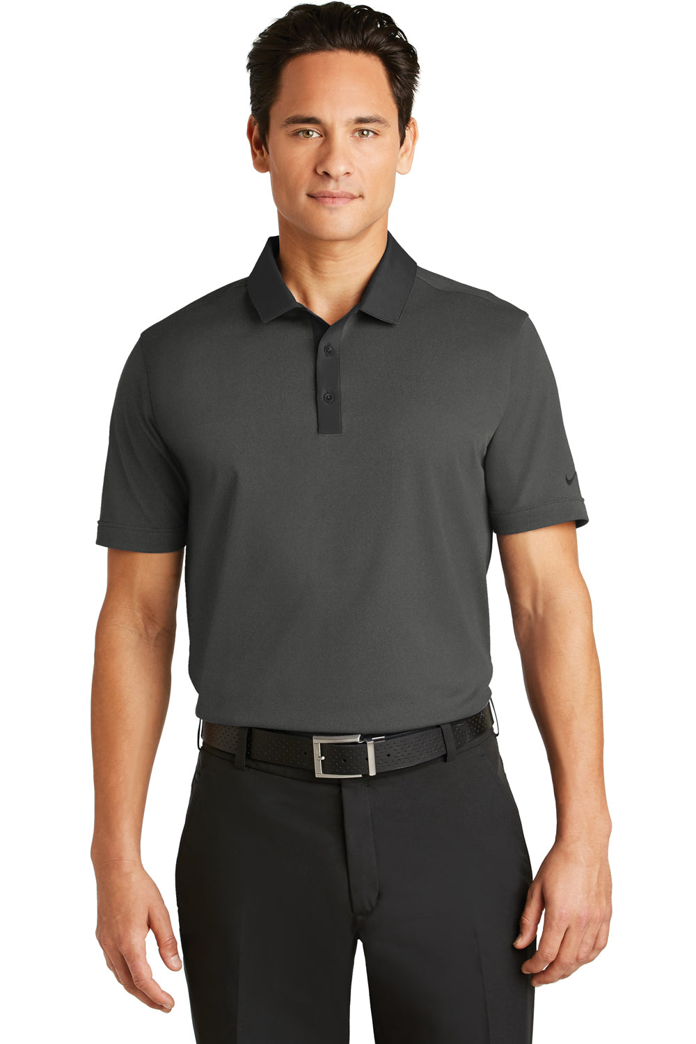 Nike 779798 Mens Dri-Fit Moisture Wicking Short Sleeve Polo Shirt Heather Black Front