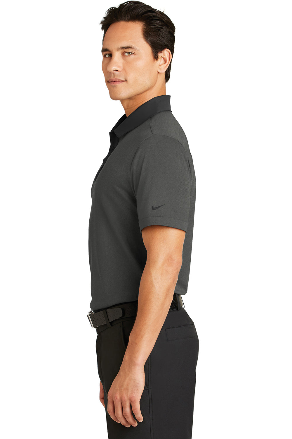 Nike 779798 Mens Dri-Fit Moisture Wicking Short Sleeve Polo Shirt Heather Black Side