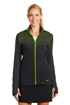 Nike 779804 Womens Hypervis Therma-Fit Moisture Wicking Full Zip Sweatshirt Black/Volt Green Front