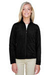 North End 78172 Womens Voyage Full Zip Fleece Jacket Black Front