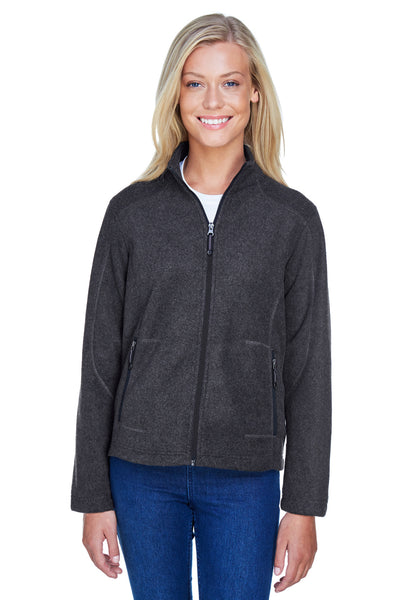 North End 78172 Womens Voyage Full Zip Fleece Jacket Heather Charcoal Grey Front
