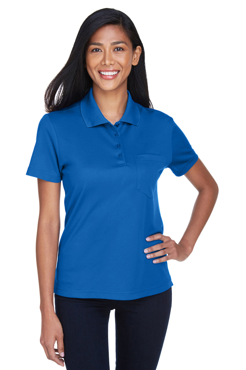 Core 365 78181P Womens Origin Performance Moisture Wicking Short Sleeve Polo Shirt w/ Pocket Royal Blue Front