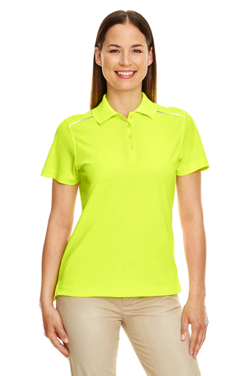 Core 365 78181R Womens Radiant Performance Moisture Wicking Short Sleeve Polo Shirt Safety Yellow Front