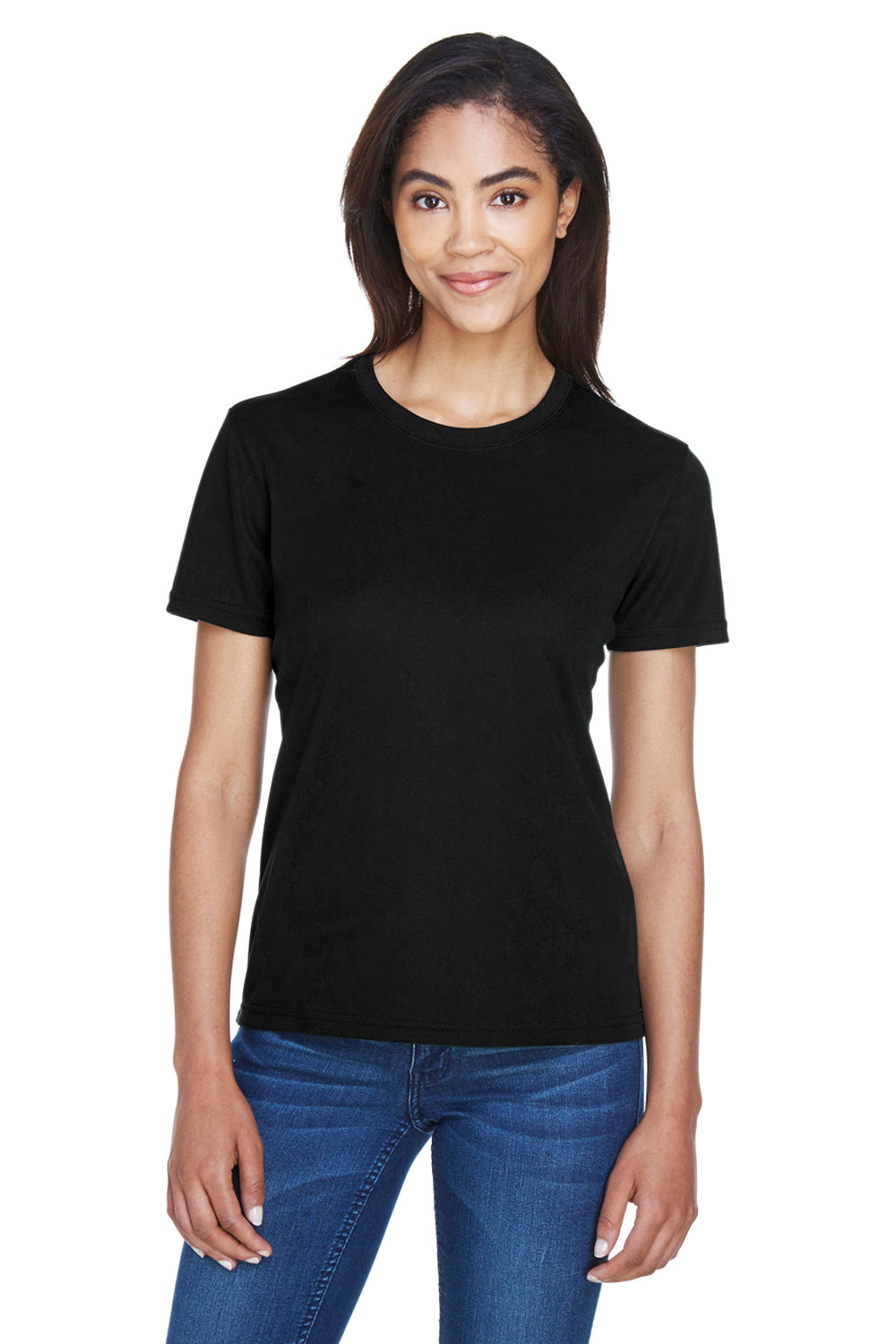 Core 365 78182 Womens Pace Performance Moisture Wicking Short Sleeve Crewneck T-Shirt Black Front
