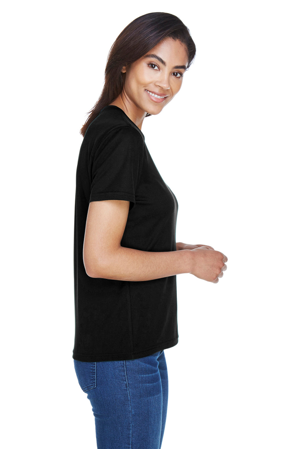 Core 365 78182 Womens Pace Performance Moisture Wicking Short Sleeve Crewneck T-Shirt Black Side