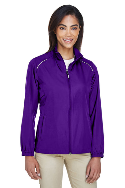Core 365 78183 Womens Motivate Water Resistant Full Zip Jacket Purple Front