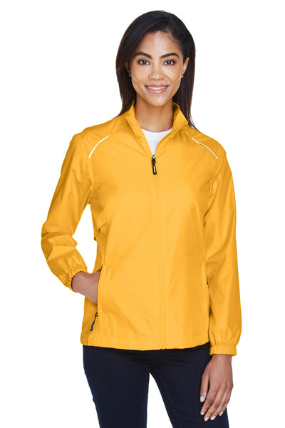 Core 365 78183 Womens Motivate Water Resistant Full Zip Jacket Gold Front