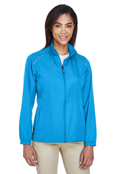 Core 365 78183 Womens Motivate Water Resistant Full Zip Jacket Electric Blue Front