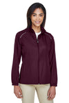 Core 365 78183 Womens Motivate Water Resistant Full Zip Jacket Burgundy Front