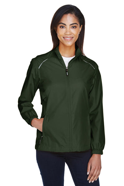 Core 365 78183 Womens Motivate Water Resistant Full Zip Jacket Forest Green Front