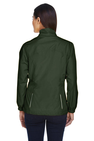 Core 365 78183 Womens Motivate Water Resistant Full Zip Jacket Forest Green Back