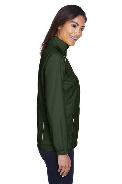 Core 365 78183 Womens Motivate Water Resistant Full Zip Jacket Forest Green Side