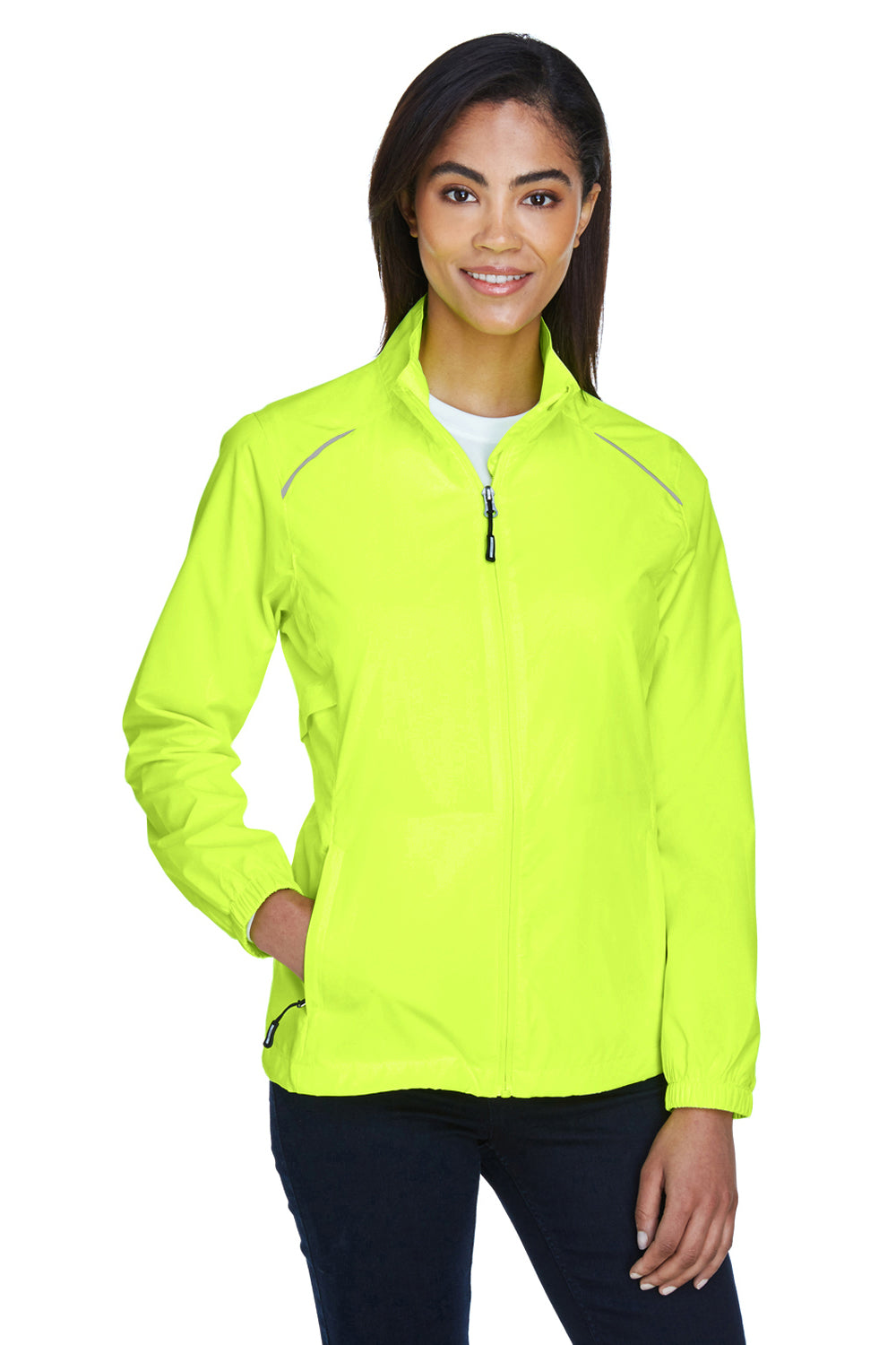 Core 365 78183 Womens Motivate Water Resistant Full Zip Jacket Safety Yellow Front