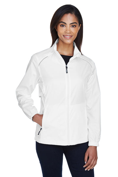 Core 365 78183 Womens Motivate Water Resistant Full Zip Jacket White Front