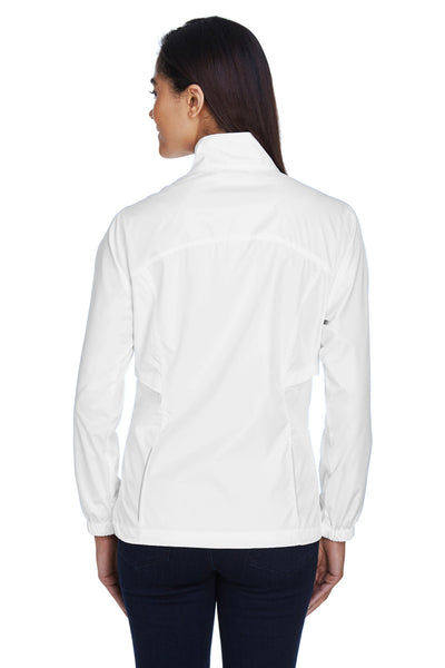 Core 365 78183 Womens Motivate Water Resistant Full Zip Jacket White Back