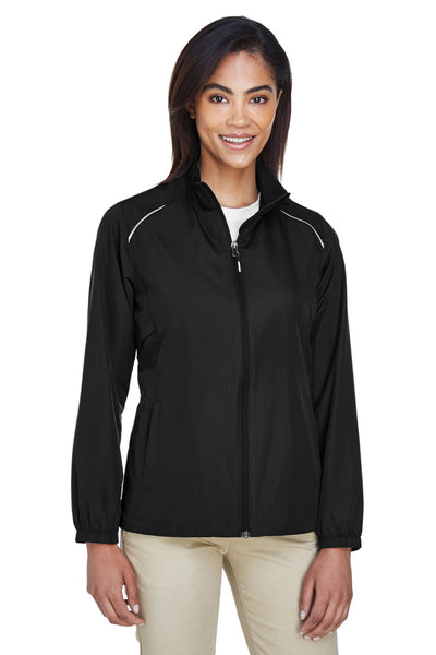 Core 365 78183 Womens Motivate Water Resistant Full Zip Jacket Black Front