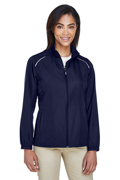 Core 365 78183 Womens Motivate Water Resistant Full Zip Jacket Navy Blue Front