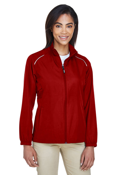 Core 365 78183 Womens Motivate Water Resistant Full Zip Jacket Red Front