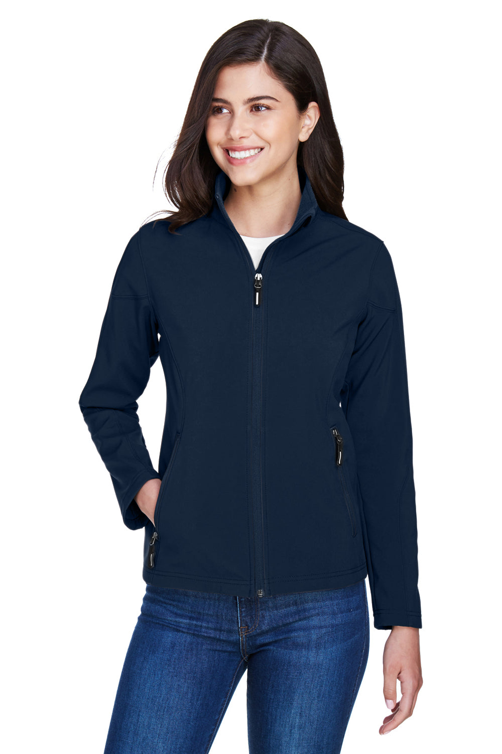 Core 365 78184 Womens Cruise Water Resistant Full Zip Jacket Navy Blue Front
