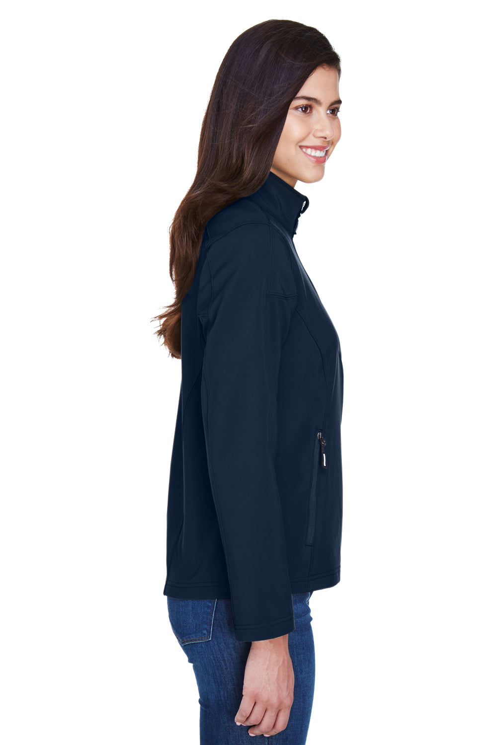 Core 365 78184 Womens Cruise Water Resistant Full Zip Jacket Navy Blue Side