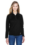 North End 78187 Womens Radar Performance Moisture Wicking 1/4 Zip Sweatshirt Black Front