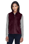 Core 365 78191 Womens Journey Full Zip Fleece Vest Burgundy Front