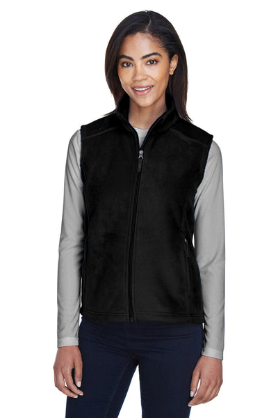 Core 365 78191 Womens Journey Full Zip Fleece Vest Black Front