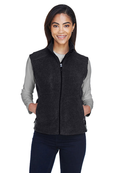 Core 365 78191 Womens Journey Full Zip Fleece Vest Heather Charcoal Grey Front