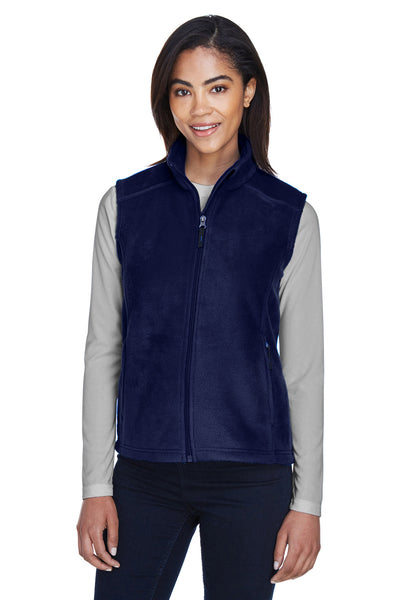 Core 365 78191 Womens Journey Full Zip Fleece Vest Navy Blue Front