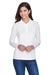Core 365 78192 Womens Pinnacle Performance Moisture Wicking Long Sleeve Polo Shirt White Front