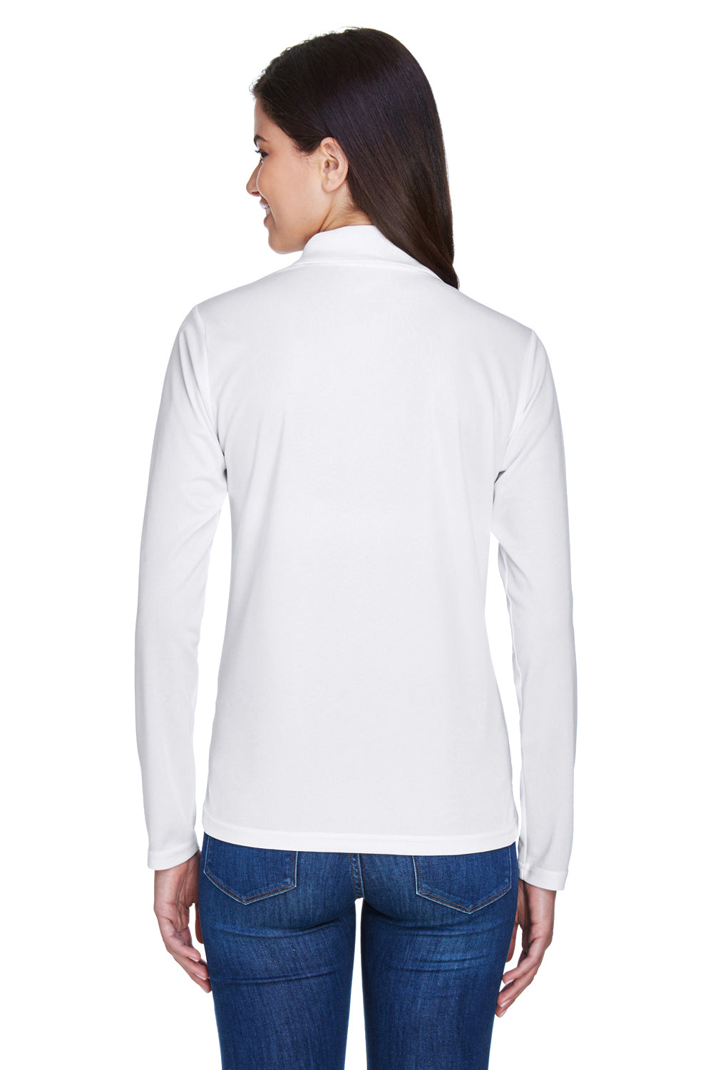 Core 365 78192 Womens Pinnacle Performance Moisture Wicking Long Sleeve Polo Shirt White Back