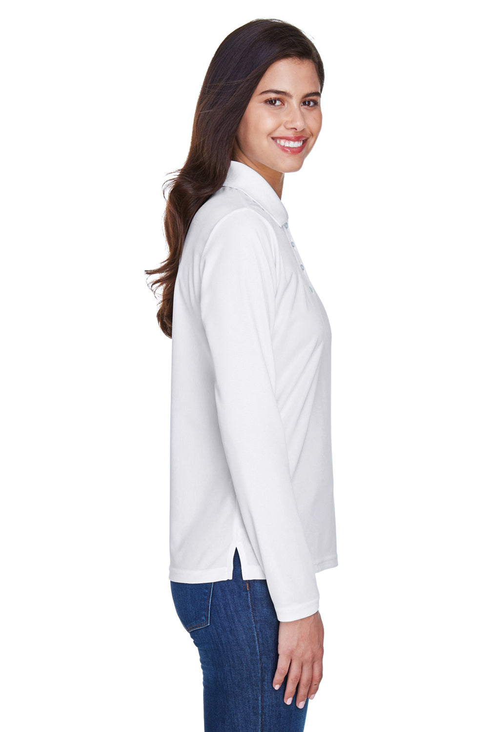 Core 365 78192 Womens Pinnacle Performance Moisture Wicking Long Sleeve Polo Shirt White Side