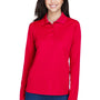 Core 365 Womens Pinnacle Performance Moisture Wicking Long Sleeve Polo Shirt - Classic Red
