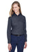 Core 365 78193 Womens Operate Long Sleeve Button Down Shirt Carbon Grey Front