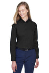 Core 365 78193 Womens Operate Long Sleeve Button Down Shirt Black Front