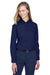 Core 365 78193 Womens Operate Long Sleeve Button Down Shirt Navy Blue Front
