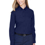 Core 365 Womens Operate Long Sleeve Button Down Shirt - Classic Navy Blue