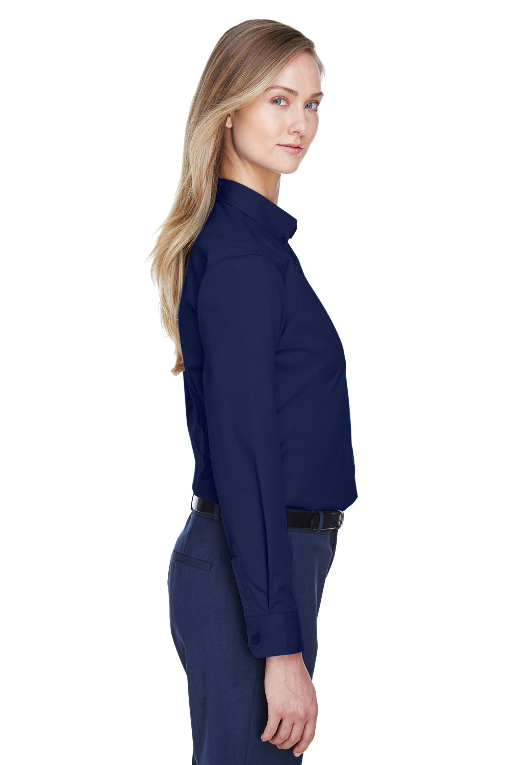 Core 365 78193 Womens Operate Long Sleeve Button Down Shirt Navy Blue Side
