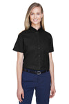 Core 365 78194 Womens Optimum Short Sleeve Button Down Shirt Black Front