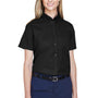 Core 365 Womens Optimum Short Sleeve Button Down Shirt - Black