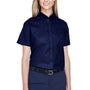 Core 365 Womens Optimum Short Sleeve Button Down Shirt - Classic Navy Blue