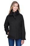 Core 365 78205 Womens Region 3-in-1 Water Resistant Full Zip Hooded Jacket Black Front