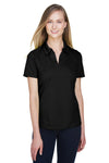 North End 78632 Womens Sport Red Performance Moisture Wicking Short Sleeve Polo Shirt Black Front