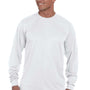 Augusta Sportswear Mens White Moisture Wicking Long Sleeve Crewneck T-Shirt