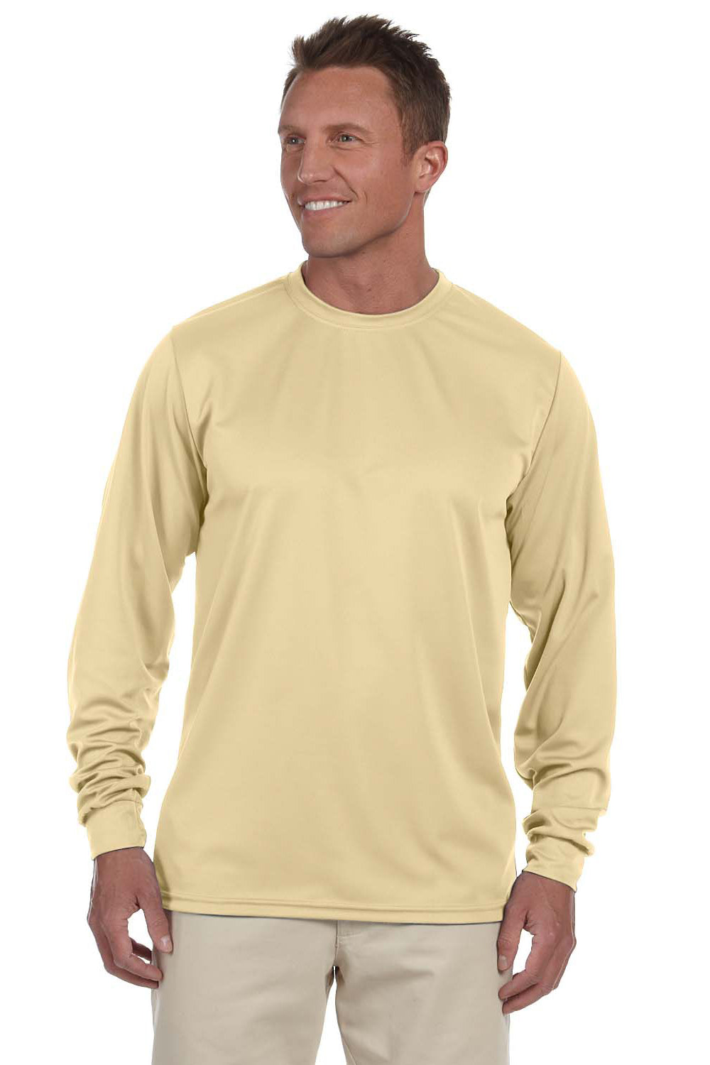 Augusta Sportswear 788 Mens Moisture Wicking Long Sleeve Crewneck T-Shirt Vegas Gold Front