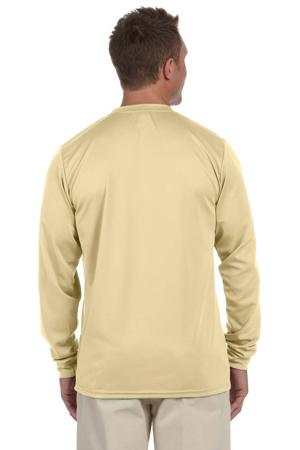 Augusta Sportswear 788 Mens Moisture Wicking Long Sleeve Crewneck T-Shirt Vegas Gold Back