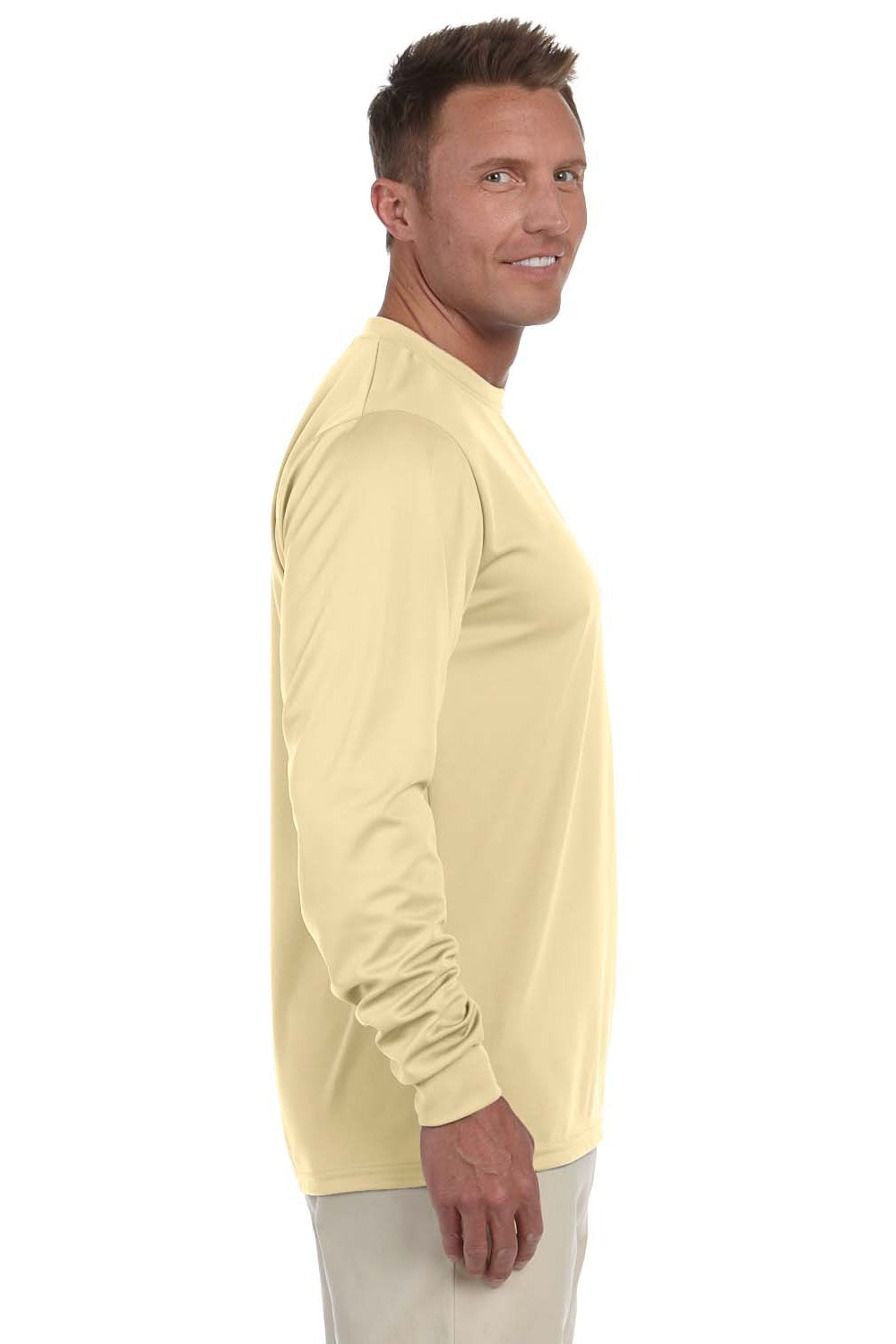 Augusta Sportswear 788 Mens Moisture Wicking Long Sleeve Crewneck T-Shirt Vegas Gold Side