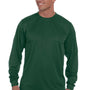 Augusta Sportswear Mens Dark Green Moisture Wicking Long Sleeve Crewneck T-Shirt