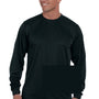 Augusta Sportswear Mens Black Moisture Wicking Long Sleeve Crewneck T-Shirt